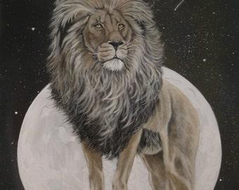 """Wildlife art print - Lion - """"Solitude""""  - mounted, ready to frame"""
