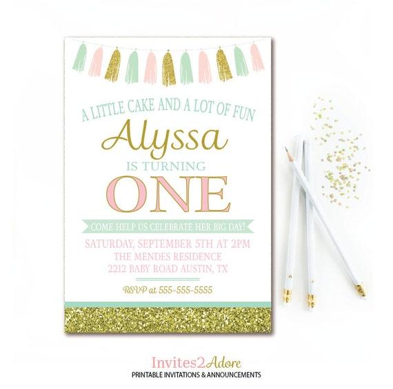 Mint pink gold birthday invitation tassel birthday party il570xn filmwisefo