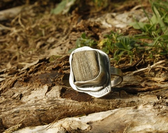 Beach stone ring/shimmering stone ring/earth tone ring statement ring gifts for her,canada made