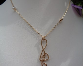 Gold chain with clef, 585 gold filled