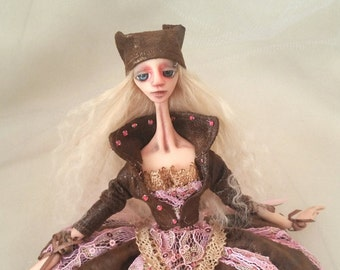 OOAK Art Doll Gothic Eudora has promotion price with her special wood box and doll stand!