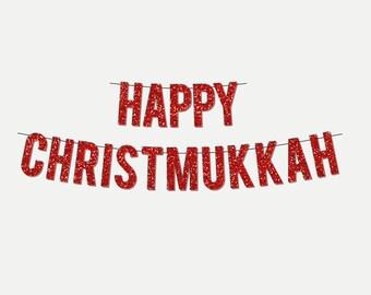 "Red Sparkly ""Happy Christmukkah"" DIY Banner - Digital Printable Instant Download"