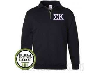 Sigma Kappa Quarter Zip, Monogram Fleece Pullover, Monogram Sweatshirt, Monogram Pullover, Sorority Pullover, Big Little Gift, Sig-Kap
