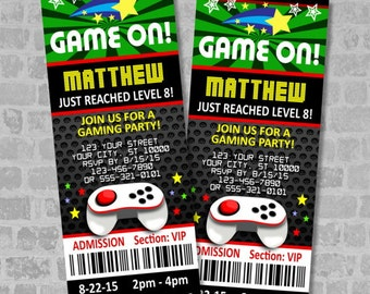 Video Games Party Ticket Invitations, Gaming Birthday Party Ticket, Custom Video Gaming Truck Ticket Invites, Digital Or Printed