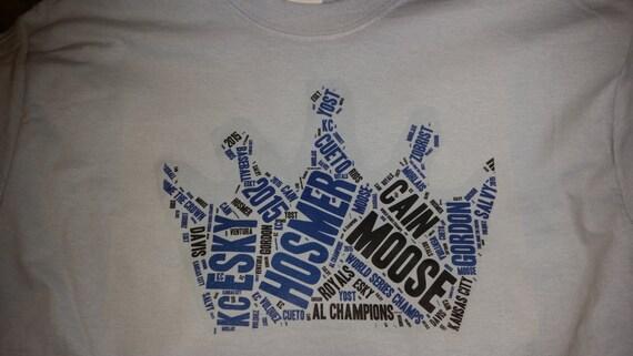 Kansas city royals custom made t shirts crown of names for Custom shirts kansas city