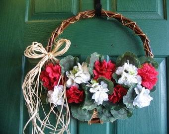 Geranium Door Basket Wreath