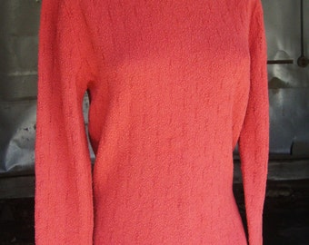 Vintage 1940's Coral Wool Boucle Back Zip Sweater - Size Small to Medium