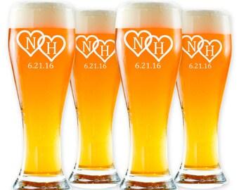 Personalized Pilsner Glasses - Custom Beer Glass - Etched Barware - Wedding Beer Glass - Anniversary Gift - Lipman Design GW103 - Set of 4
