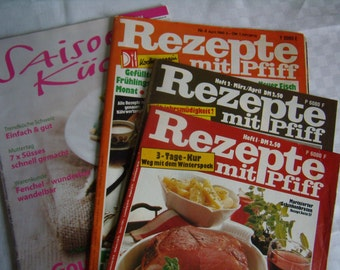 Vintage 4 magazines for recipes, menu tips, guides, German language, 1980