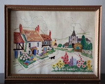 Reliance Industries Print No. 922   Vintage Frame   Village and Cat   Reprint   Embroidery   Cottage Art   Flowers   Floral   Colorful