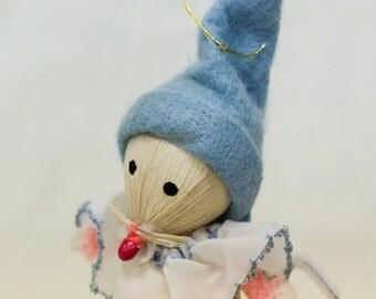 Vintage corn husk ornament: clown mouse