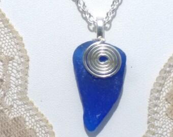 Irish Seaglass Celtic Pendant in Cobult Blue