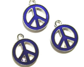 Purple PEACE Symbol Charms | Jewelry Charms | Bracelet Charms | Necklace Charms