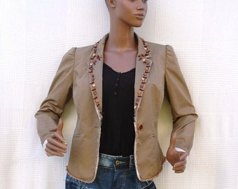 The Tribal - Customized cotton jacket with glass and wooden beads,metal pellets and frayed edges,boho chic jacket,recycling of used clothes