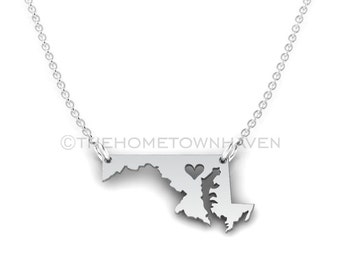 Maryland Necklace - I heart Maryland necklace, Maryland state necklace