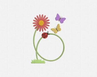 Flower Ladybug Frame Monogram Machine Embroidery Design - 1 Size