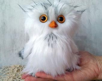 White Owl - Artist Teddy owl, Stuffed animal owl, Plush Owl, Stuffed toy, Cute Owl - Made to order