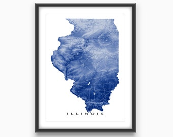 Illinois Map, Illinois Art Print, USA State Outline Maps, Chicago
