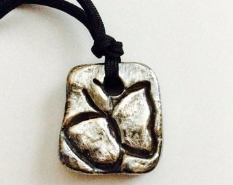 Silver Butterfly necklace/ Art Clay Silver over ceramic/ hand carved bead/ DIY focal point/ Large square necklace/ adjustable necklace/ FAB