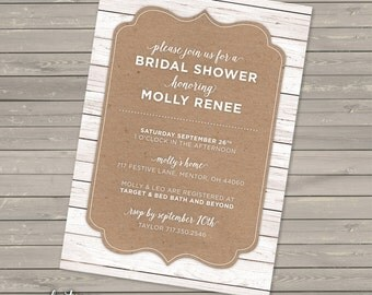 Rustic Bridal Shower Invitation | Couple's Shower | Wood Texture