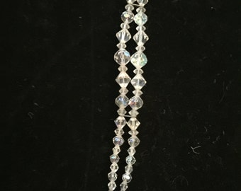 Vintage Clear Glass Bi-Cone Beads 3 Sizes, 2 Strands, Hexagon Clasp