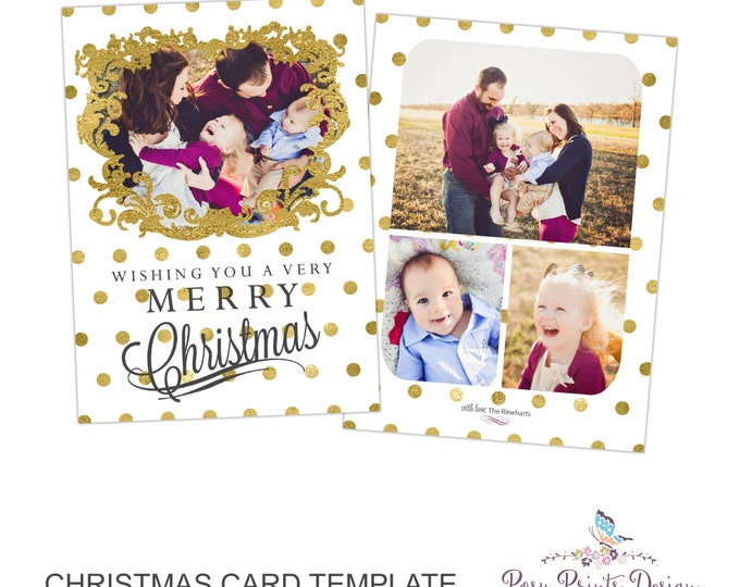 Christmas Card Template with Gold Glitter - 5x7 Photo Card - Photoshop Template for Photographers - CC17 - INSTANT DOWNLOAD or Printable