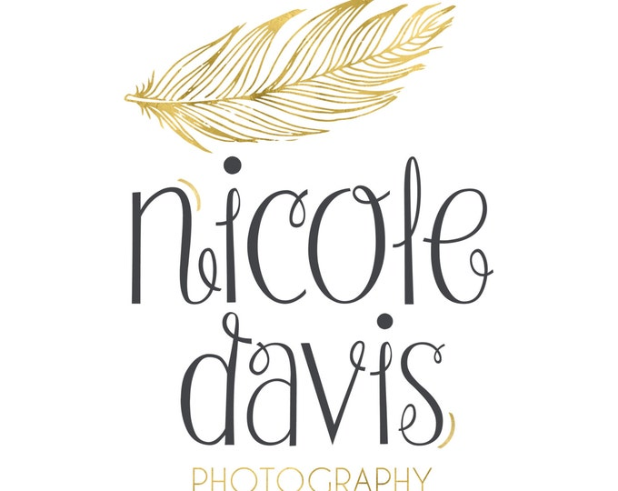 Logo and Watermark  - Gold Feather -  Script Font - Professional Photography Logo Design - Watermark - Premade Logo Design - PL06