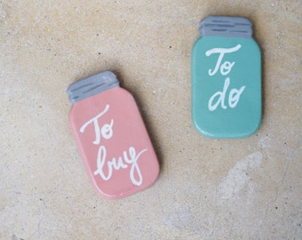 Mason jar magnets - To do list magnet - To buy list fridge magnets - Set 2 magnets refrigerator magnets - Mason jar kitchen decor -Gift idea