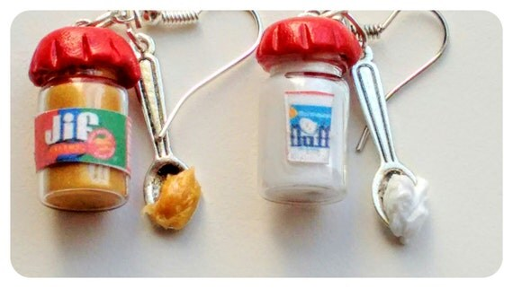 Peanut Butter and Jelly Earrings, Miniature Food Jewelry, Jar of Fluff Earrings, Gifts for Foodies, Inedible Jewelry, Kid's Jewelry,  Kawaii