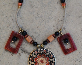 Jia Necklace, Oriental Flower Necklace, Tribal Necklace, Tribal Jewelry, Flower Pendant
