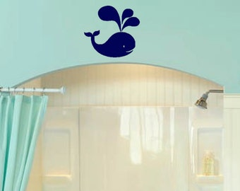 Whale Splash Decal for Kids Bathroom/Bedroom