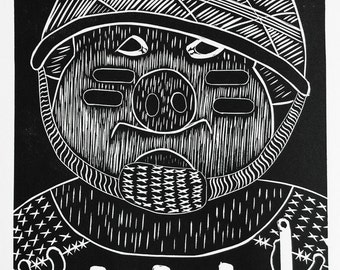 Graphic print, black and white, art, ink, Pig - Animal Farm - Soldier, Pig series, Linocut, Fine art print, Relief print, limited edition