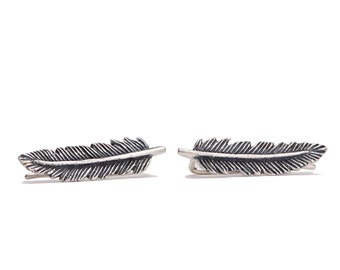 Sterling Silver Ear Cuff Feather Ear Sweep Pin Earrings Boho Jewelry - FES002SS T1