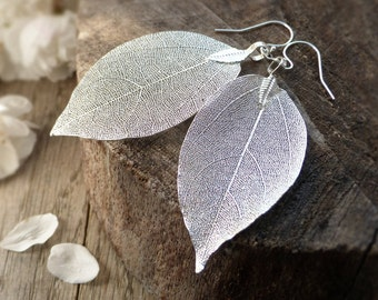 Real leaf earrings, silver dipped leaves, sterling silver leaf earrings, natural woodland jewelry, rustic wedding jewelry, bridal earrings