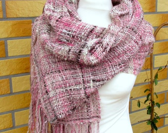 Casual handwoven long scarf shawl stole Handwoven rose grey wool scarf Handspun handwoven shawl Wool Silk shawl Handwoven unique scarf