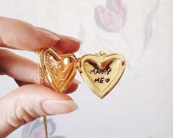 Heart Locket Necklace Marry Me Locket Wife Gift Gifts for Girlfriend Proposal Gift