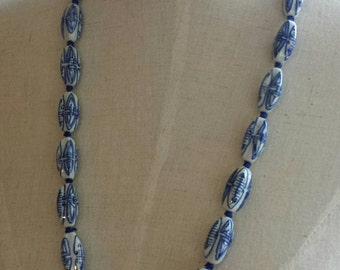 """Vintage """"MING"""" Style Porcelain Beaded Necklace-Chinese Necklace-Pottery Necklace-Long Necklace"""