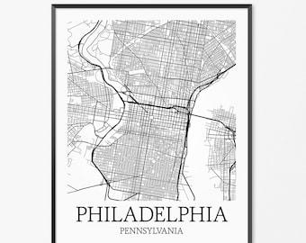 Philadelphia Map Art Print, Philadelphia Poster Map of Philadelphia Decor, Philadelphia City Map Art, Philadelphia Pennsylvania Art Gift