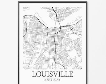 Louisville Map Art Print, Louisville Poster Map of Louisville Decor, Louisville City Map Art, Louisville Gift Louisville Kentucky Art Poster
