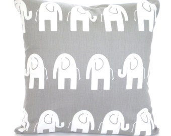 Gray White Elephant Pillow Cover Decorative Throw Pillows Cushions Grey Pillow Covers Nursery Pillow Baby PillowThrow Pillow ALL SIZES