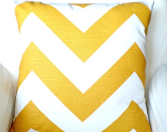 Yellow Chevron Pillow Cover, Decorative Throw Pillow, Cushions, Large Chevron Pattern, Couch Bed Pillow, Euro Sham, One or More All Sizes