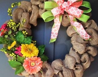 Floral Burlap Wreath