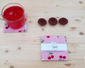 Cherry coasters and cherry blossoms coated cotton