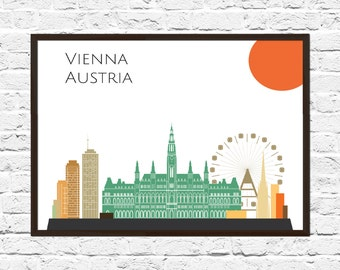 Vienna Cityscape, Vienna Art, Skyline, Cityscape, Vienna Print, City Print, City Poster, Wall Art, Vienna Skyline, Abstract