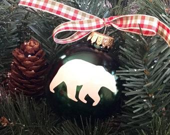 Bear Christmas Ornament - Personalized Bear Silhouette Christmas Ornament