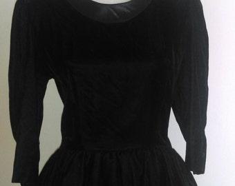 Vintage Kwai Black Velvet Dress with Peplum..