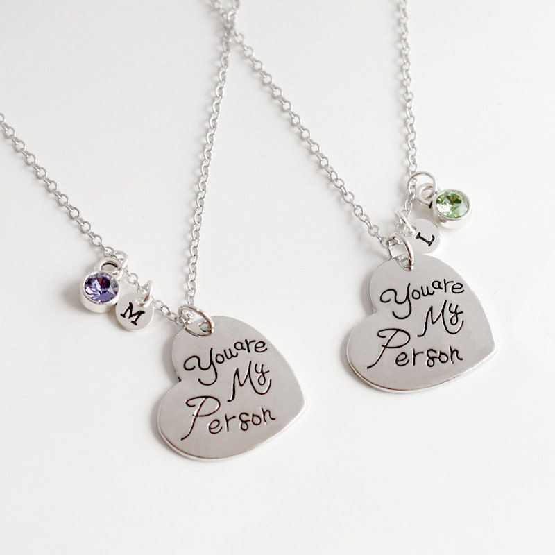 you are my person necklace silver hearts best by yesornodesign