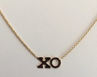 """14k necklace, XO dainty layering, solid 14k yellow gold, 16"""" cable chain"""