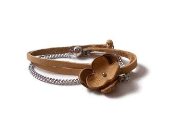 Flower bracelet, boho leather wrap bracelet, ocher bracelet, hippie bracelet, bohemian bracelet