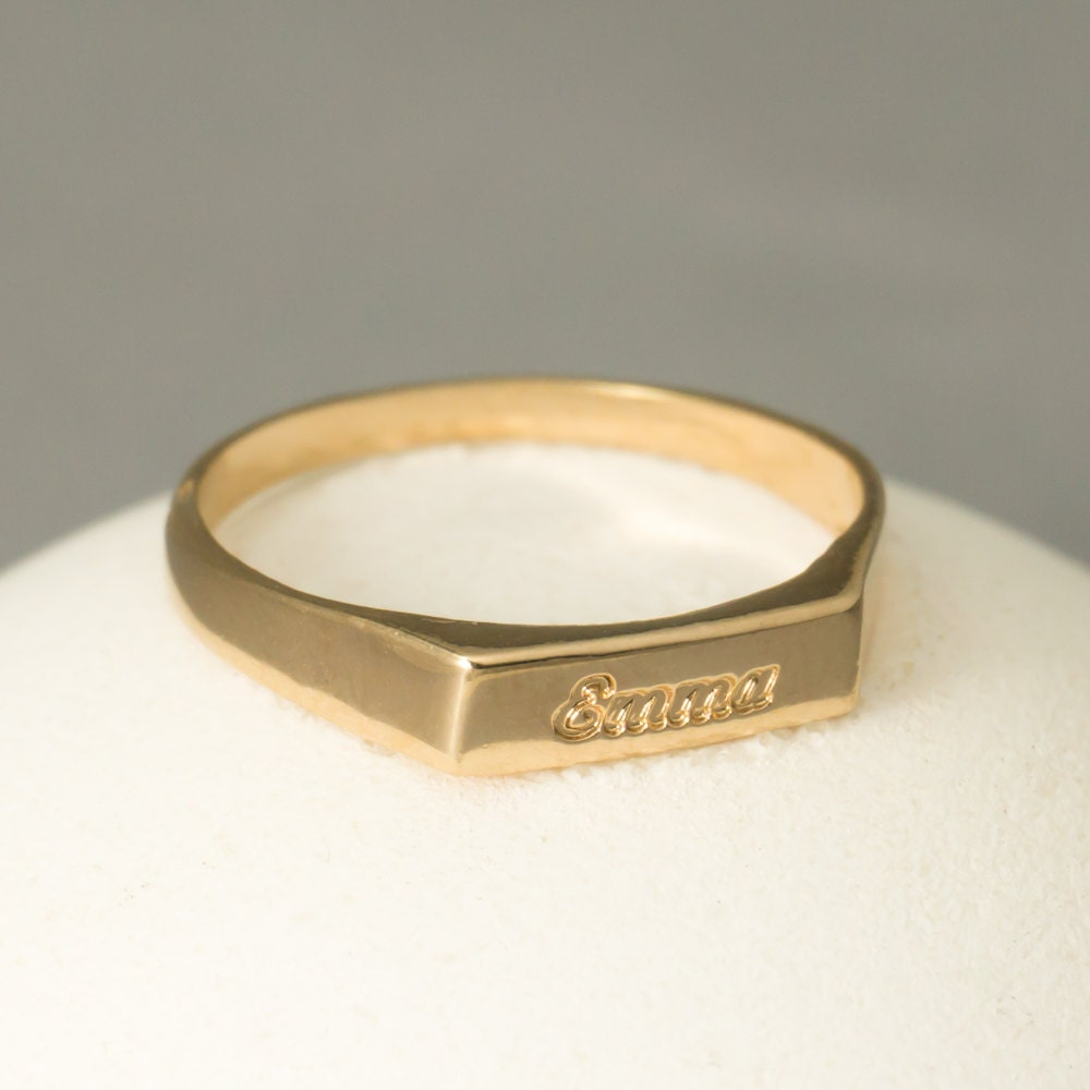 Engravable Ring Rose Gold Custom Ring Rose Gold By